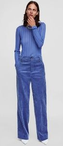 🆕️🦋ZARA NWOT Blue Corduroy Trousers Wide Leg